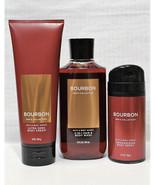 3 Pc. Bath & Body Works BOURBON Trio Body Wash Deodorizing Spray & Body ... - $39.59