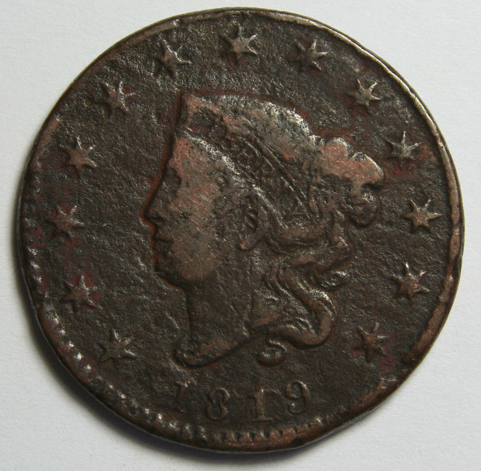1819 Large Cent Liberty Coronet Head Coin Lot # MZ 4082