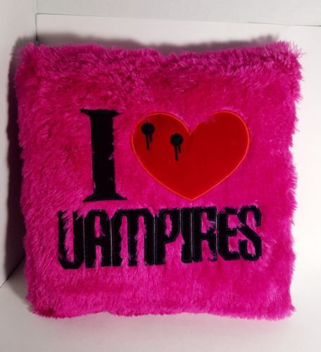 """I love Vampires - Hot Pink Peek-A-Boo Plush Pillow 12"""" x 12"""" and 3"""" thick RARE"""
