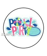"""30 POOL PARTY ENVELOPE SEALS LABELS STICKERS 1.5"""" ROUND BIRTHDAY FAVORS - $4.99"""
