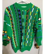 vtg 90s EZ Spirit Acrylic Sweater womens sz small green bold stripes y2k - $17.75