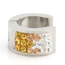 UNITED ELEGANCE Stylish Silver Tone Hoop Earrings With Swarovski Style Crystals image 2