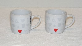STARBUCKS COFFEE Co. VALENTINES DAY RED HEART 7.8 oz COFFEE MUG Lot of 2... - $14.99