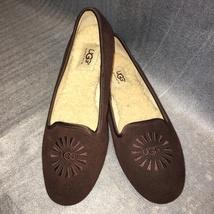 UGG Brown Embroidered Sheepskin Flat/Slipper ALLOWAY, S/N 1001632, Women Size 7  - $69.00