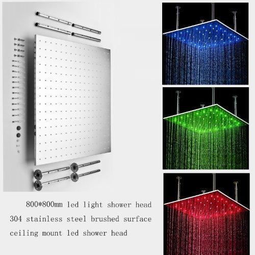 Cascada 31 Inch Luxury Large Square LED Rain Bathroom Showerheads Brushed Stainl - $732.55