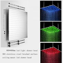 Cascada 31 Inch Luxury Large Square LED Rain Bathroom Showerheads Brushe... - $732.55
