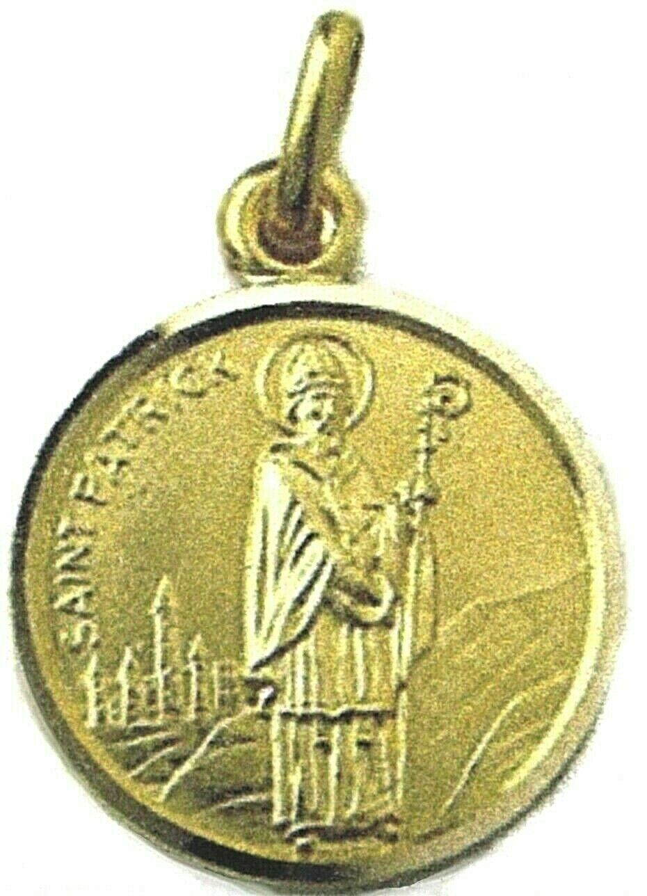 SOLID 18K YELLOW GOLD ROUND MEDAL, SAINT PATRICK, PATRIZIO, DIAMETER 15mm