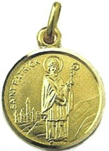 SOLID 18K YELLOW GOLD ROUND MEDAL, SAINT PATRICK, PATRIZIO, DIAMETER 15mm image 1