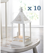 Lot of 10 Belfort Candle Lanterns White Metal with Glass Candle Cup - $157.42