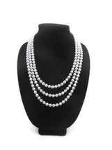 Three Strand, Layerd Extra Long Necklace with 8mm Gray Glass Pearl Necklace - $65.00
