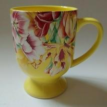 Hallmark Marjolein Bastin Yellow With Pink & Yellow Tulips Pedestal Coffee Mug - $16.82