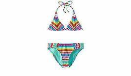 Roxy Girl Surf's Up Multi Striped Tiki Triangle Bikini Swimsuit Size 14 - $22.49