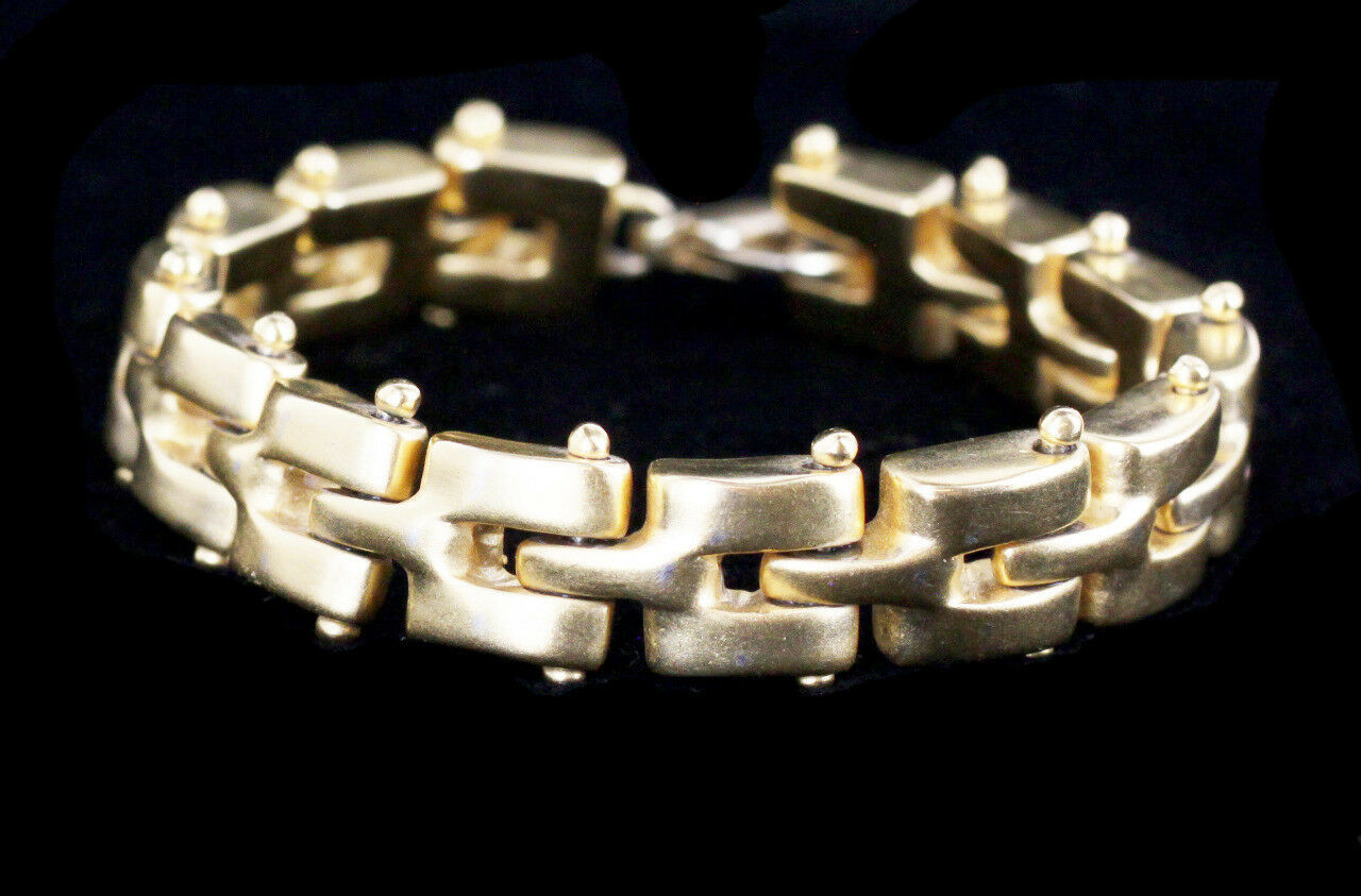 Vintage Stunning Russian Gold Tone Heavy Chain Link Braclet 8""