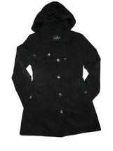 London Fog Trench rain dress Coat w rem hood Black size Large L - $109.35