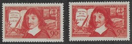 1937 Rene Descartes Set of 2 France Postage Stamps Catalog 330-31 MNH