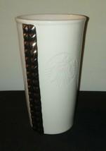 Silver Studded Starbuck Tumbler Mug / 2014 / 10 oz Coffee Tea Home Offic... - $26.18