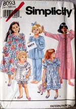 Simplicity Pattern 8093 Size HH 3/6 Girls PJs Nightwear Top Bottoms Shor... - $11.00