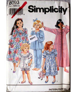 Simplicity Pattern 8093 Size HH 3/6 Girls PJs Nightwear Top Bottoms Shor... - $11.00