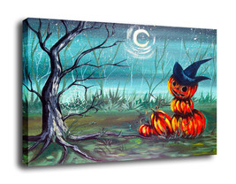 "Fantasy Art Hallowmas Gift Oil Painting Print On Canvas Decor""moon pumpkin"" - $18.80+"