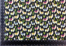 Llama Cacti Multi Black 100% Cotton High Quality Fabric Material *3 Sizes* - $1.79+