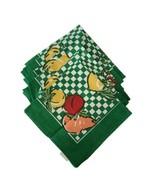 "Set of 8 VTG Cotton Napkins Fruit Motif Green Checkered Hand Printed 16""... - $22.28"
