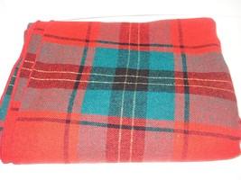 "Red/Green Plaid Rectangular  Christmas Linen Tablecloth 72"" x 50""  - $10.00"