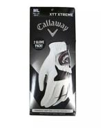 CALLAWAY XXT XTREME Golf Glove Left Hand 2 PACK, WHITE/BLACK, M-LARGE Ne... - $16.14