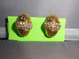 VTG Heavy Gold Tone Toned Art Deco Style Rhinestone Hoop Clip On Earrings - $19.80
