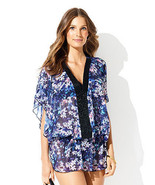 Womens New NWT M Designer Badgley Mischka Blouse Floral Blue Beaded Cove... - $74.00