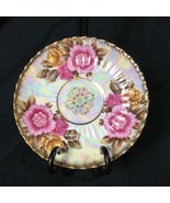 Hand Painted Fan Crest Fine China Japan 2645 Saucer Iridescent Ribbed Pi... - $16.82