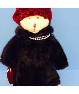 """Plush Russ Berrie & Co Nuria Teddy Bear w/Hat, Coat, Pearls, Purse 12"""" S... - $9.50"""