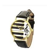 Round Music Piano Key Style Black Leather Girls Watch Retro Women Wristw... - $4.99