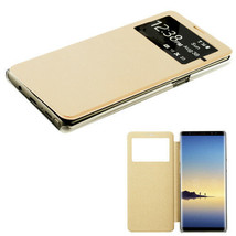 Samsung Galaxy Note 8 Window Screen Leather Flip Wallet Case Hybrid Cover GOLD - $8.40