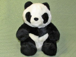"10"" GRAND HYATT PANDA PLUSH BEAR CUB BEIJING STUFFED ANIMAL BLACK WHITE ... - $24.75"
