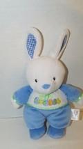 Prestige White blue Happy Easter eggs BUNNY Rabbit Rattle Plush Baby Toy - $8.90