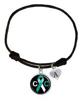 Custom Cervical Cancer Awareness Black Leather Unisex Bracelet Jewelry Charm - $13.94
