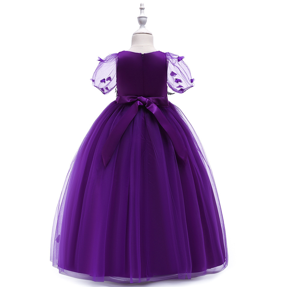 Sexy Purple  Tulle Lace Flower Girl Dress A Line Wedding Party Gowns A Line 2019 image 3