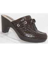 Sperry Top-Sider brown croc print leather bow slip on platform clog mule... - $36.05