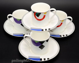 Mikasa High Spirits * 4 SETS CUPS & SAUCERS * Colorful Geometric, Excell... - $13.85