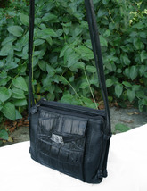 Brighton Croc and Pebbled Leather Cross Body Organizer Bag Black Silver Wallet image 3