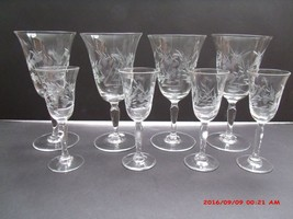 VINTAGE MATCHING 8 ETCHED GLASS STEMS (4 CORDIALS AND 4 WINES) LEAVES & ... - $35.00