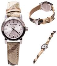 Burberry Watch Women BU9212 Silver Nova Check Beige Nylon Leather Strap ... - $219.17 CAD