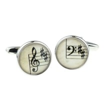treble and bass clef cufflinks, silver with sheet music design on cufflinks gift