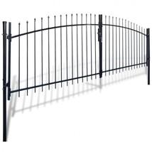 Double Door Fence Panel Gate Spear Top Steel Garden Barrier Black Barric... - $339.57