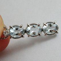 Collar Oro Blanco 750-18 CT,Trilogy Aguamarina Ovalados Quilates 2.50 y Diamante image 2