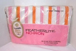 Pink Orange Stripes Full Size Flat Sheet Vintage Cannon NOS Royal Family... - $24.70
