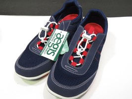 New Lands End Womans 7.5 Mesh Sneakers Blue Red White - $25.74