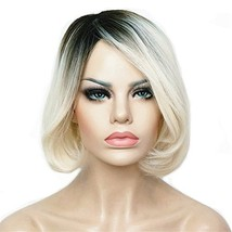 Aimole Ombre Wig Short Bob Wigs Straight White Hair with Dark Roots Synt... - $18.73