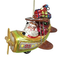 Darice Christmas Glass Ornament: Santa Drives Plane, 5 x 5 inches w - $17.99