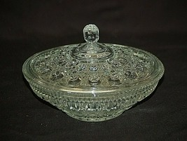 """Vintage Windsor Clear Federal Glass Button & Cane Design 7-1/2"""" Round Candy Bowl - $29.69"""